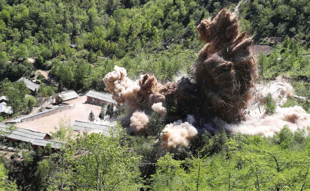A command post facilities of North Korea's nuclear test site are blown up in Punggye-ri, North Korea, May 24, 2018.