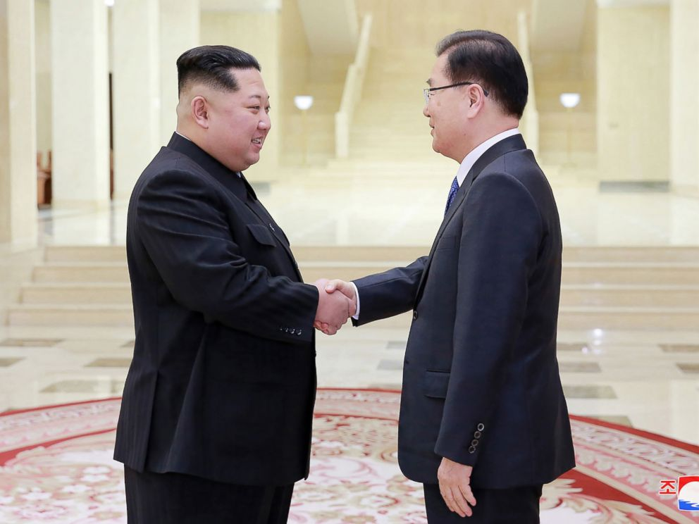 PHOTO: North Korean leader Kim Jong-Un shakes hands with South Korean chief delegator Chung Eui-yong ,March 5, 2018, during their meeting in Pyongyang, North Korea.