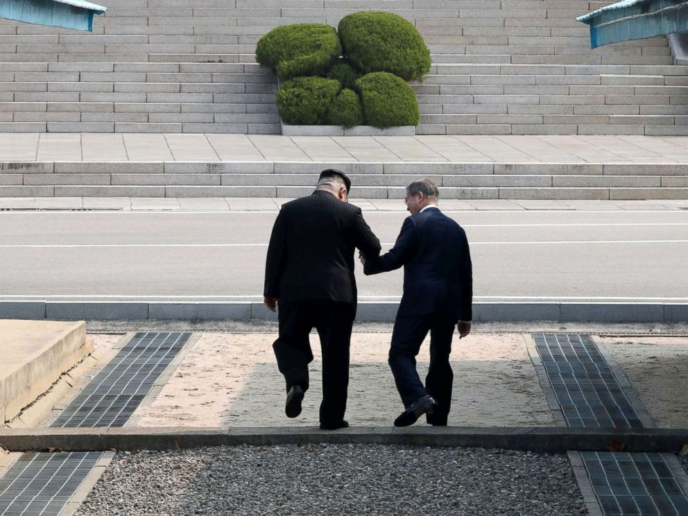 PHOTO: North Korean leader Kim Jong Un and South Korean President Moon Jae-in meet in the truce village of Panmunjom inside the demilitarized zone separating the two Koreas, South Korea, April 27, 2018.