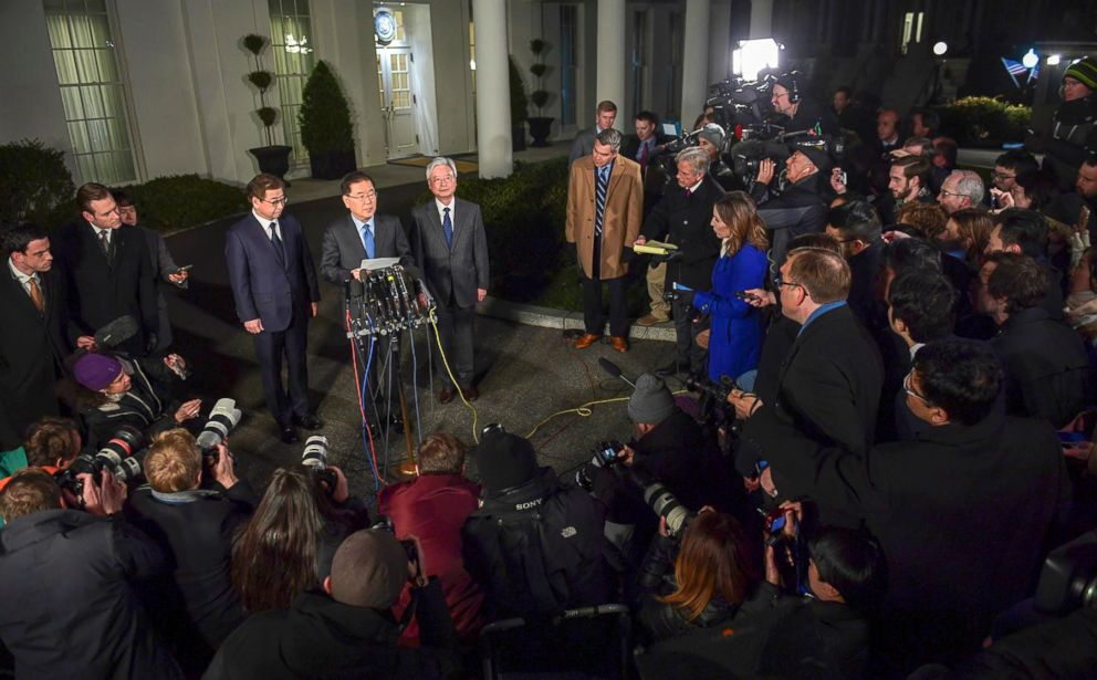 PHOTO: South Korean national security director Chung Eui-yong, center, speaks to reporters at the White House in Washington, March 8, 2018. Intelligence chief Suh Hoon is at left.