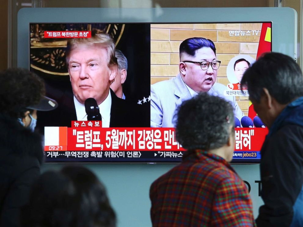 PHOTO: People watch a TV screen showing North Korean leader Kim Jong Un and President Donald Trump, left, at the Seoul Railway Station in Seoul, South Korea, March 9, 2018. Trump has accepted an invitation from the North Korean leader to meet by May.