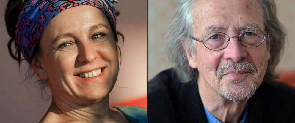 PHOTO: Polish author Olga Tokarczuk, left, and Austrian novelist and playwright Peter Handke, right. Tokarczuk won the 2018 Nobel Literature Prize, which was delayed over a sexual harassment scandal, and Peter Handke took the 2019 award.