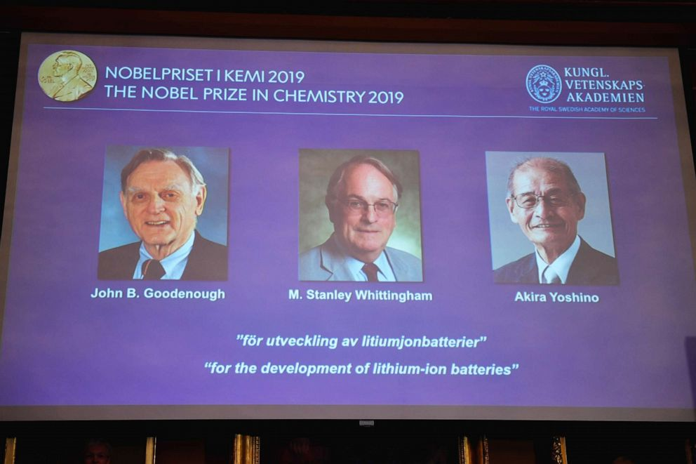PHOTO: A screen displays the laureates of the 2019 Nobel Prize in Chemistry during a news conference at the Royal Swedish Academy of Sciences in Stockholm, Sweden, Oct. 9, 2019.