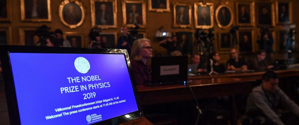 PHOTO: A display is seen as journalists await the announcement of the winners of the 2019 Nobel Prize in Physics at the Royal Swedish Academy of Sciences in Stockholm on Oct. 8, 2019.