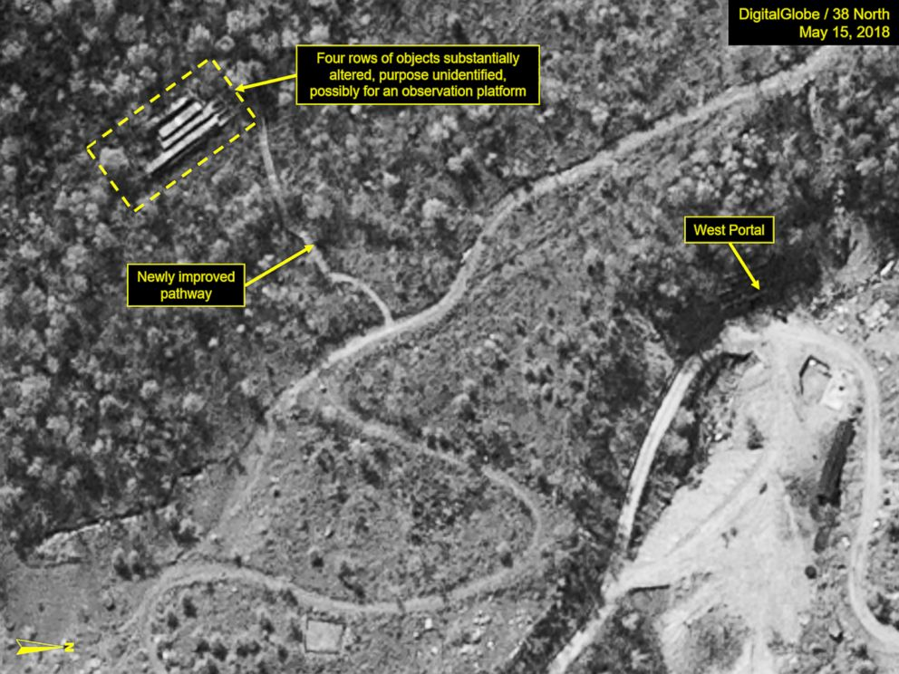 PHOTO: A satellite image from May 15, 2018, appears to show significant work that has been done on an area at North Korea's Punggye-ri nuclear test site.