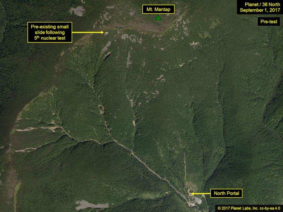 A satellite image from Sep. 1, 2017, shows a pre-existing small slide on North Korea's Mt. Mantap.