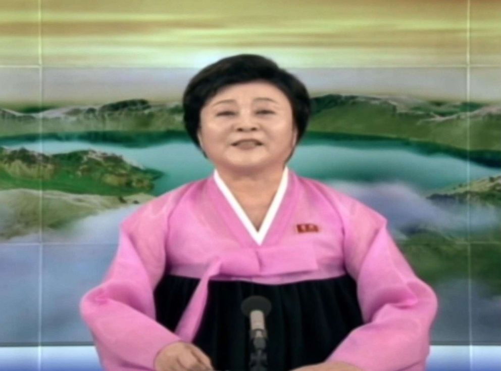 PHOTO: A North Korean TV anchor reports on the meeeting of U.S. Secretary of State Mike Pompeo and North Korean President Kim Jong Un, May 9, 2018.