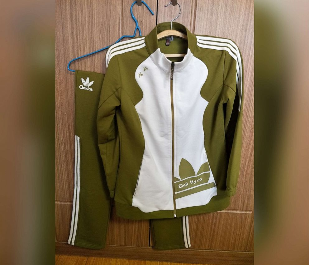 PHOTO: A counterfeit Adidas tracksuit purchased in Pyongyang, North Korea.