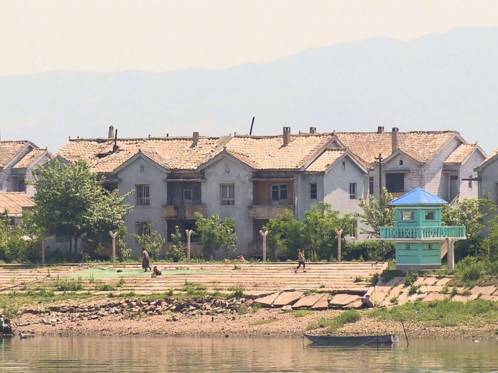 PHOTO:A view across the Yalu River into neighboring North Korea as seen from the Chinese city of Dandong.