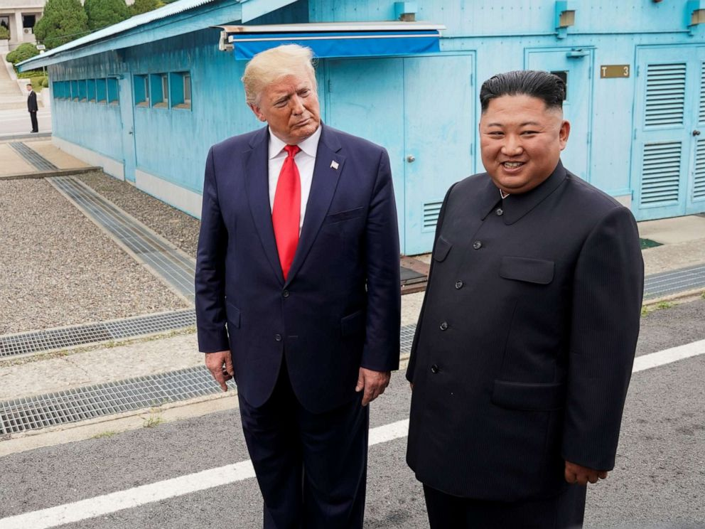 PHOTO: President Donald Trump meets with North Korean leader Kim Jong Un at the demilitarized zone separating the two Koreas, in Panmunjom, South Korea, June 30, 2019.