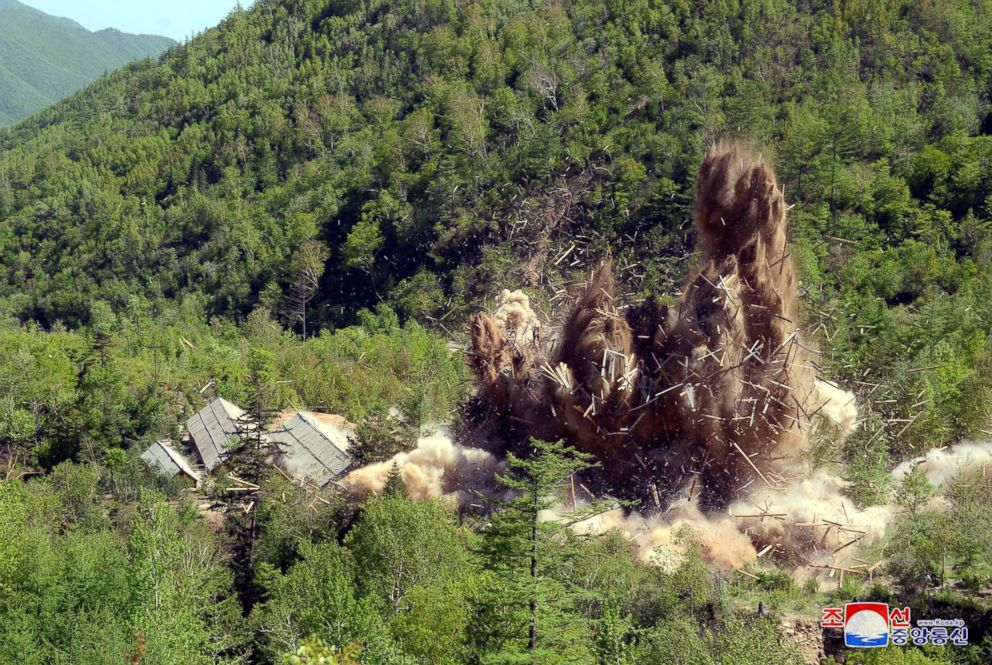 PHOTO: North Koreas nuclear test center was completely dismantled in this undated photo released by North Koreas Korean Central News Agency (KCNA) in Pyongyang, May 24, 2018.