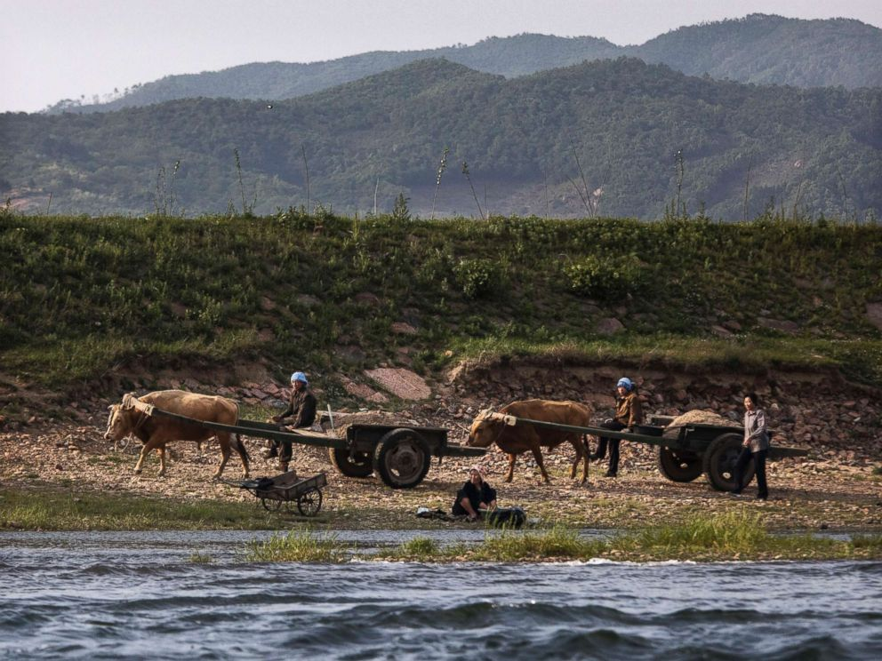 PHOTO: North Korean farmers work on the Yalu river north of the border city of Sinuiju, North Korea across from Dandong, northern China, May 23, 2017.