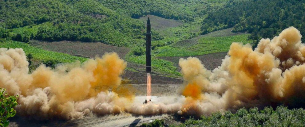 PHOTO: A Hwasong-14 intercontinental ballistic missile, ICBM, launches off in North Korea.