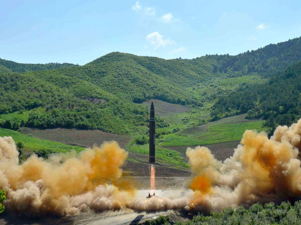 PHOTO: A Hwasong-14 intercontinental ballistic missile launches in North Korea in a photo released by the North Korean government.