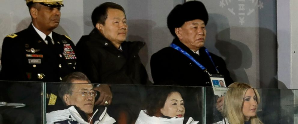 PHOTO: Kim Yong Chol, vice chairman of North Koreas ruling Workers Party Central Committee, back right, watches the closing ceremony with South Korean President Moon Jae-in, left, Moons wife Kim Jung-sook, and Ivanka Trump, Feb. 25, 2018.