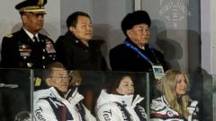 'PHOTO: Kim Yong Chol, vice chairman of North Korea's ruling Workers' Party Central Committee, back right, watches the closing ceremony with South Korean President Moon Jae-in, left, Moon's wife Kim Jung-sook, and Ivanka Trump, Feb. 25, 2018.' from the web at 'https://s.abcnews.com/images/International/north-korea-ivanka-01-ap-jrl-180225_16x9t_240.jpg'