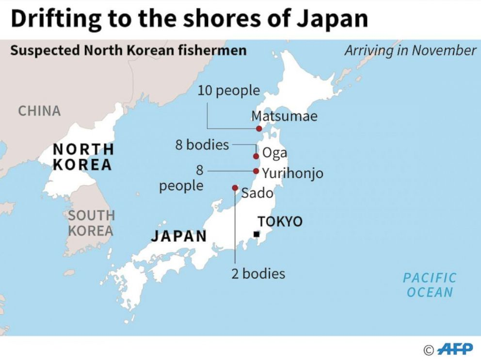 PHOTO: Map showing where North Korean sailors and deceased suspected North Koreans have drifted to Japan in November 2017.
