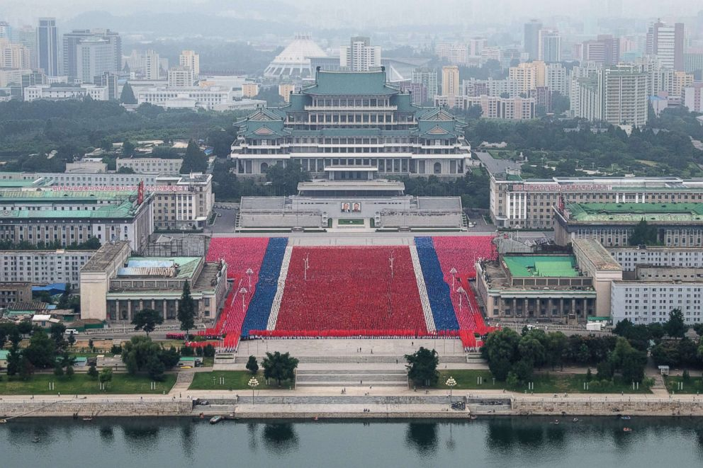 PHOTO: Rehearsals for celebrations marking the 70th anniversary of the founding of North Korea are undertaken in Kim Il-sung Square on Aug. 19, 2018 in Pyongyang, North Korea.