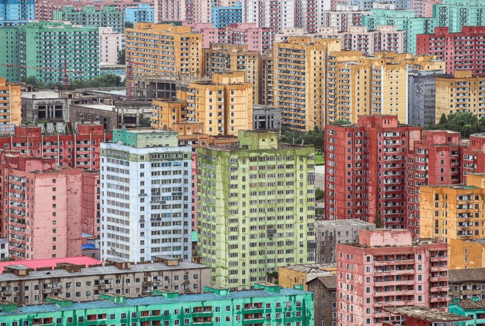 PHOTO: Apartment blocks are pictured from the viewing platform of the Juche Tower on Aug. 24, 2018 in Pyongyang, North Korea.