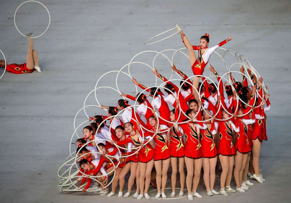 PHOTO: North Korean gymnasts perform in the Arirang Mass games celebrating the 70th anniversary of North Koreas foundation in Pyongyang, North Korea, Sept. 9, 2018.