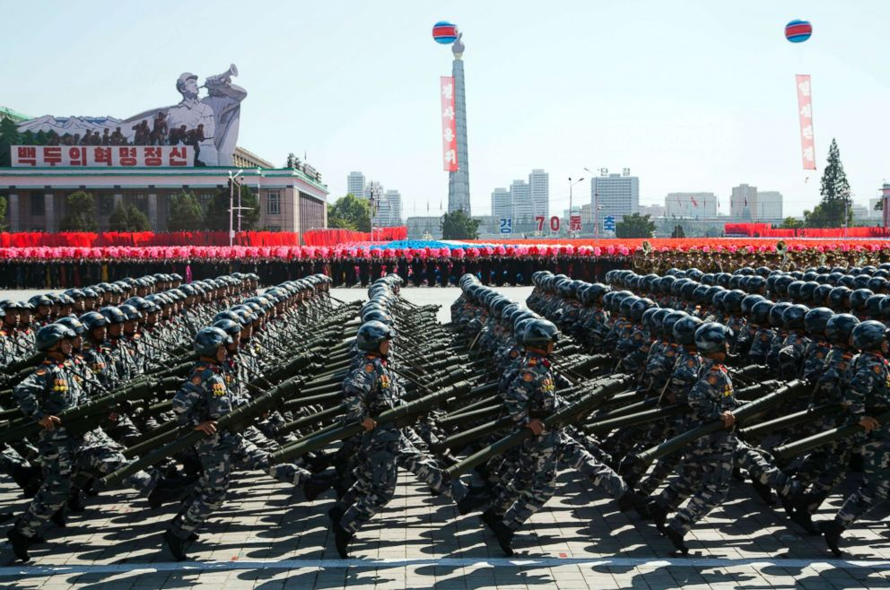 PHOTO: Soldiers march during a parade for the 70th anniversary of North Koreas founding day in Pyongyang, North Korea, Sept. 9, 2018.