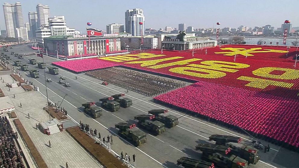 This screen grab taken from North Korea's KCTV, Feb. 8, 2018, shows members of North Korea's military taking part in a parade in Kim Il Sung Square in Pyongyang, North Korea.