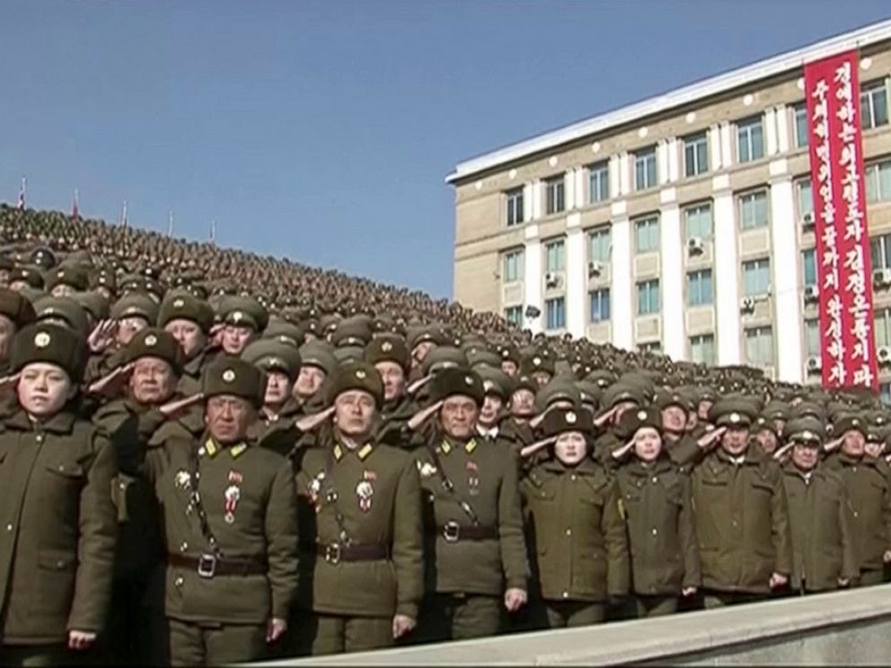 PHOTO: In this image made from video by North Koreas KRT, North Korean troops salute during a parade in Pyongyang, North Korea, Feb. 8, 2018.