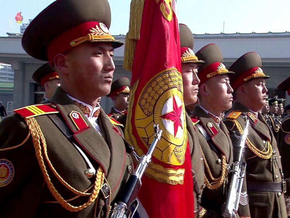 PHOTO: This screen grab taken from North Koreas KCTV, Feb. 8, 2018, shows members of North Koreas military taking part in a parade in Kim Il Sung Square in Pyongyang, North Korea.