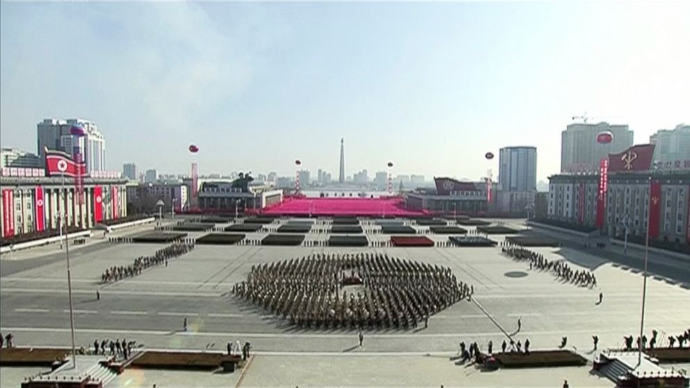 In this image made from video released by KRT, a military parade is held on Kim Il Sung Square, Feb. 8 2018, in Pyongyang, North Korea, just one day before South Korea holds the opening ceremony for the Pyeongchang Winter Olympics.