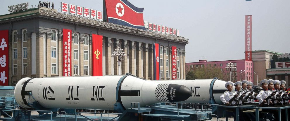 PHOTO: A submarine-launched ballistic missile is displayed in Kim Il Sung Square during a military parade in Pyongyang, North Korea, to celebrate the 105th birth anniversary of Kim Il Sung, April 15, 2018.