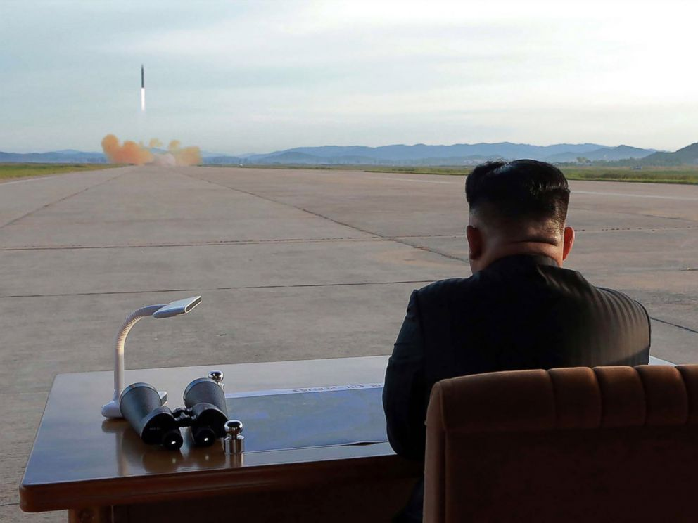 PHOTO: North Korean leader Kim Jong Un watches a launching drill of the medium-and-long range strategic ballistic rocket Hwasong-12 at an undisclosed location, in a photo released on Sept. 16, 2017 by the Korean Central News Agency.