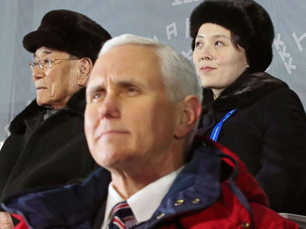 PHOTO: The sister of North Korean leader and North Koreas ceremonial head of state attend the Olympic Opening Ceremony behind Vice President Mike Pence in South Korea, Feb. 9, 2018.