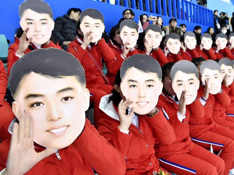 PHOTO: North Korean cheerleaders cheer the unified Korean team ahead of its womens preliminary round ice hockey game against Switzerland in Gangneung, South Korea, at the Pyeongchang Winter Olympics, Feb. 10, 2018.
