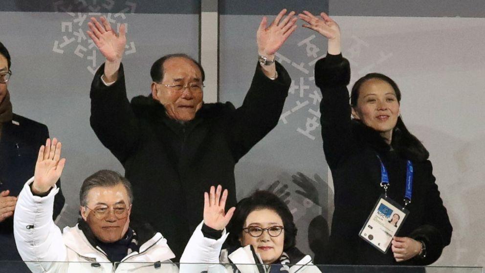 South Korean President Moon Jae-in and wife Kim Jung-sook, North Korea's Kim Yong Nam, and North Korean leader Kim Jong Un's sister Kim Yo Jong wave at the Winter Olympics opening ceremony in Pyeongchang, South Korea Feb. 9, 2018.