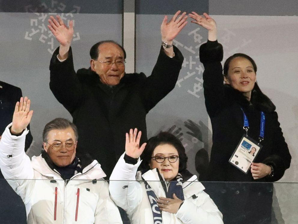 PHOTO: South Korean President Moon Jae-in and wife Kim Jung-sook, North Koreas Kim Yong Nam, and North Korean leader Kim Jong Uns sister Kim Yo Jong wave at the Winter Olympics opening ceremony in Pyeongchang, South Korea Feb. 9, 2018.