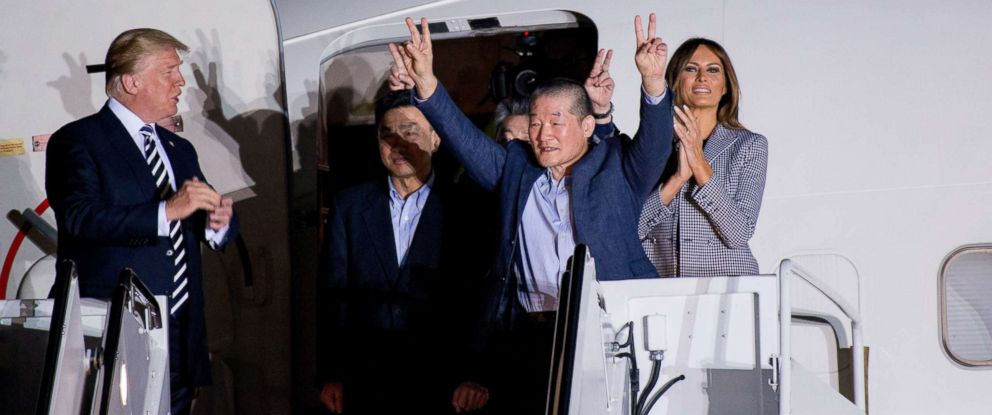 PHOTO: The three American citizens freed from North Korea are welcomed back to the U.S. by President Donald Trump and Melania, Vice President Mike Pence and Karen, and Secretary of State Mike Pompeo at Joint Base Andrews, May 10, 2018.