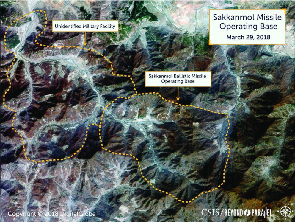 PHOTO: New satellite imagery released by the Center for Strategic and International Studies shows the Sakkanmol Missile Operating Base, one of more than a dozen locations where North Korea continues to develop ballistic missiles.