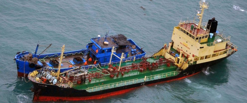 PHOTO: In this Feb. 16, 2018 file photo released by Japans Ministry of Defense, shows what it says North Korean-flagged tanker Yu Jong 2, bottom, and Min Ning De You 078 lying alongside in the East China Sea.