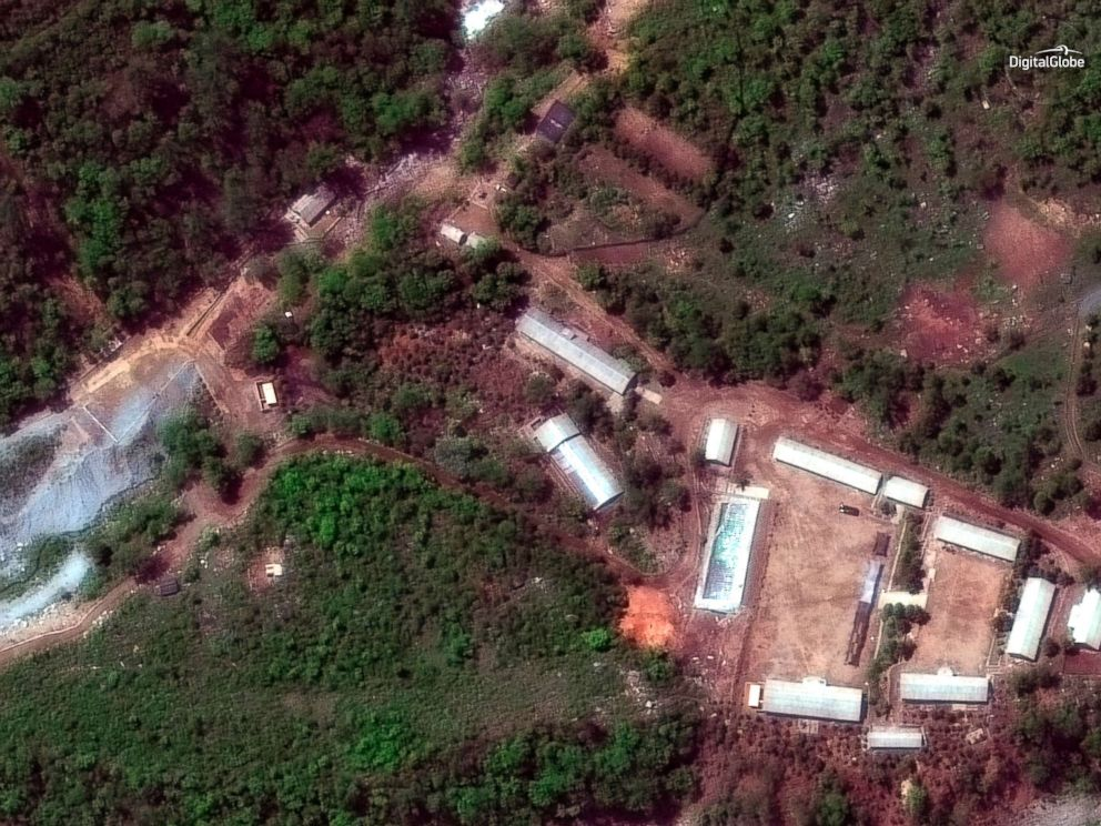 PHOTO: In this May 23, 2018 satellite file it shows the Punggye-ri test site in North Korea. North Korea said on May 24 it has carried out what it says is the demolition of its nuclear test site in the presence of foreign journalists.