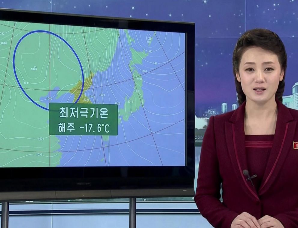PHOTO: A weather report on Korean Central Television.