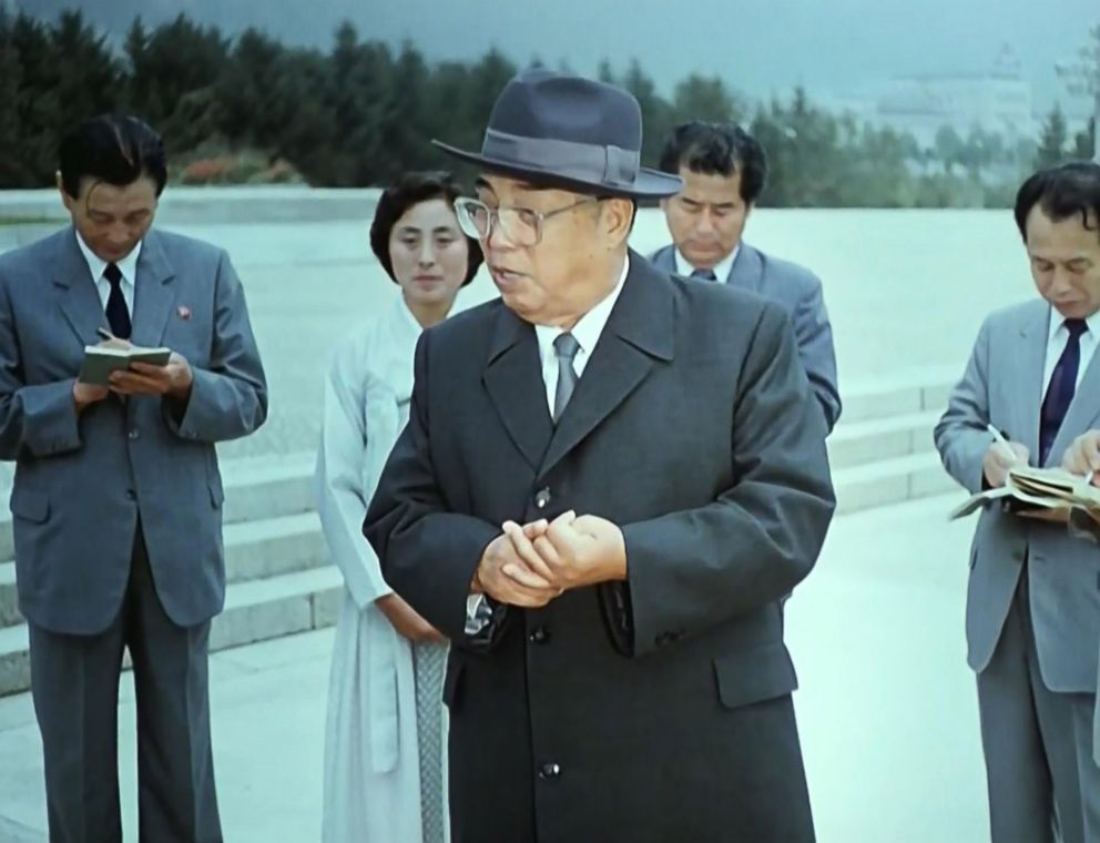 PHOTO: The late North Korean leader Kim Il Sung is shown during a documentary film honoring his achievements, on Korean Central Television.