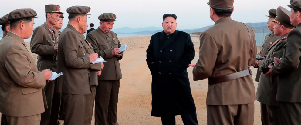 PHOTO: In this undated photo released by the North Korean government on Nov. 16, 2018, North Korean leader Kim Jong Un listens to a military official as he inspects a weapon testing at the Academy of National Defense Science, North Korea.