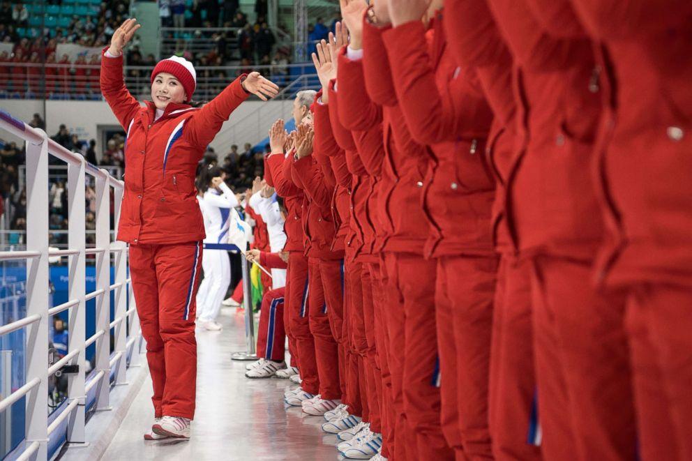 PHOTO: North Korean cheerleaders perform during the Womens Ice Hockey Preliminary Round, between North Korea and Switzerland at the PyeongChang 2018 Winter Olympic Games at Kwandong Hockey Centre, Feb. 10, 2018 in Gangneung, South Korea.