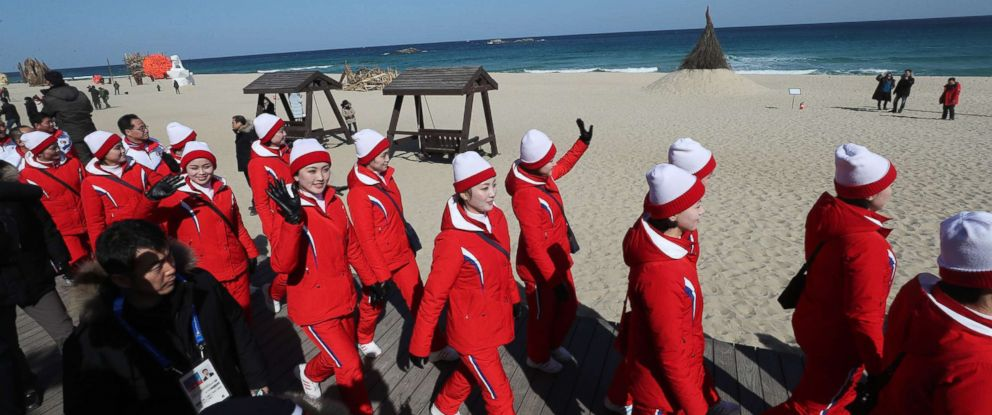 PHOTO: A group of North Korean cheerleaders for the Pyeongchang Winter Olympics wave as they visit Gyeongpo Beach in Gangneung, South Korea, Feb. 13, 2018.