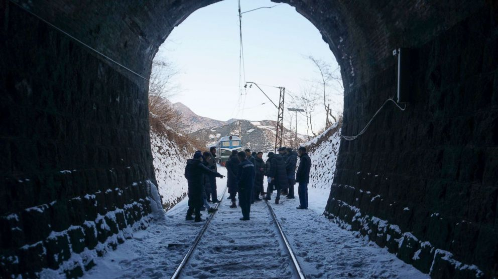 PHOTO: A group of South Korean officials and railway experts inspect the rail along North Koreas east coast, Dec 17, 2018, in Go Sung, South Korea.