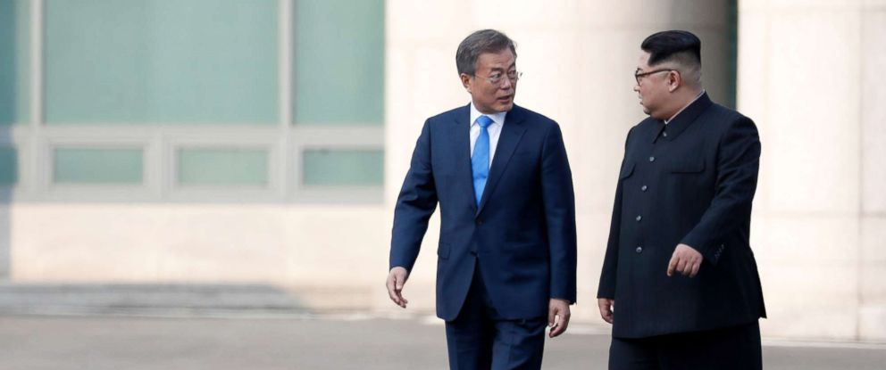 PHOTO: South Korean President Moon Jae-in and North Korean leader Kim Jong-Un at the Joint Security Area (JSA) on the Demilitarized Zone (DMZ) in the border village of Panmunjom in Paju, South Korea, April 27, 2018.
