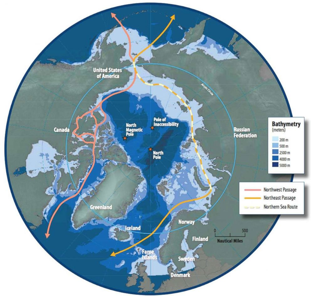 PHOTO: Map of the Arctic region showing shipping routes Northeast Passage, Northern Sea Route, and Northwest Passage.