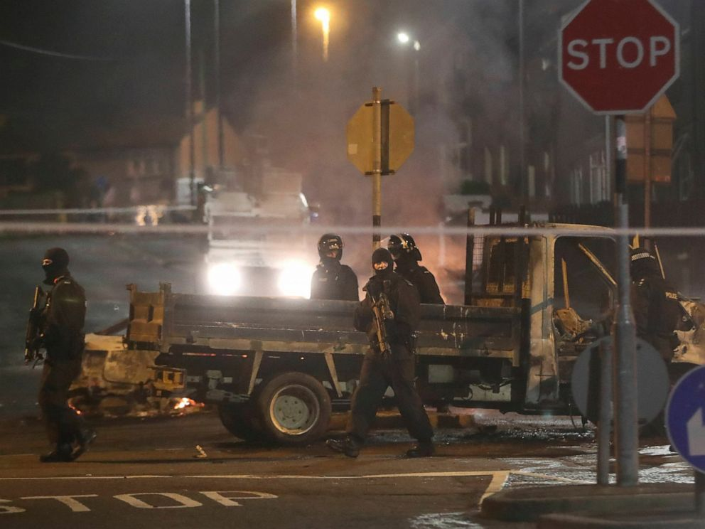 PHOTO: Police guard a crime scene during unrest in the Creggan area of Londonderry, in Northern Ireland, Thursday, April 18, 2019.