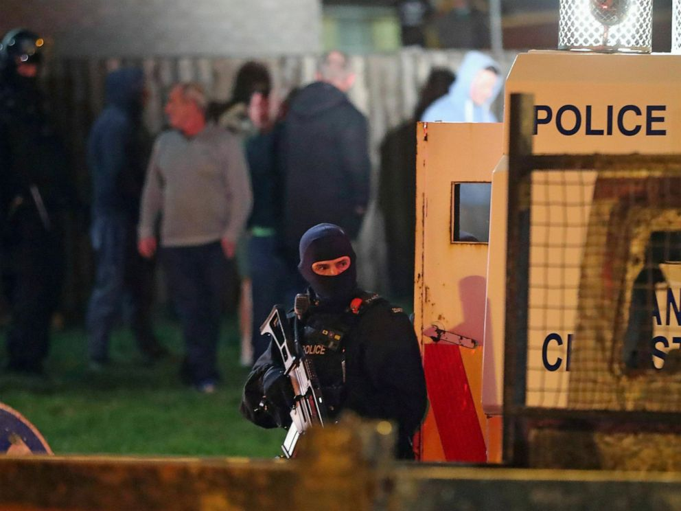 PHOTO: Armed police stage at the scene of unrest in Creggan, Londonderry, in Northern Ireland, Thursday, April 18, 2019.