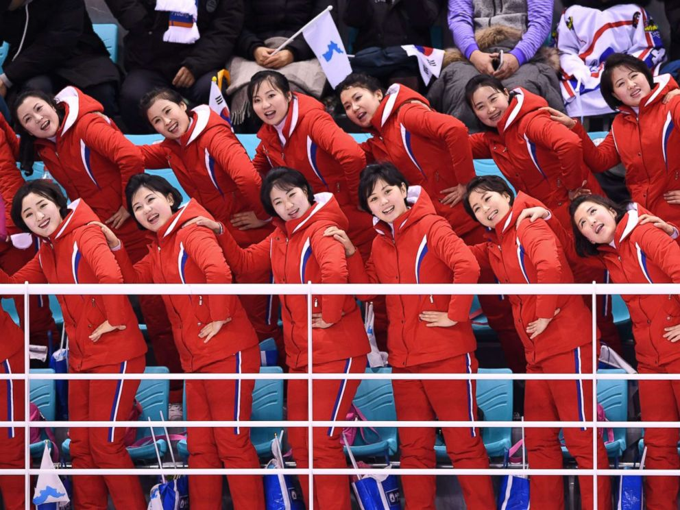 PHOTO: North Koreas cheerleaders leading cheers before the womens preliminary round ice hockey match between Switzerland and the Unified Korean team at the Kwandong Hockey Centre in Gangneung, South Korea, Feb. 10, 2018.